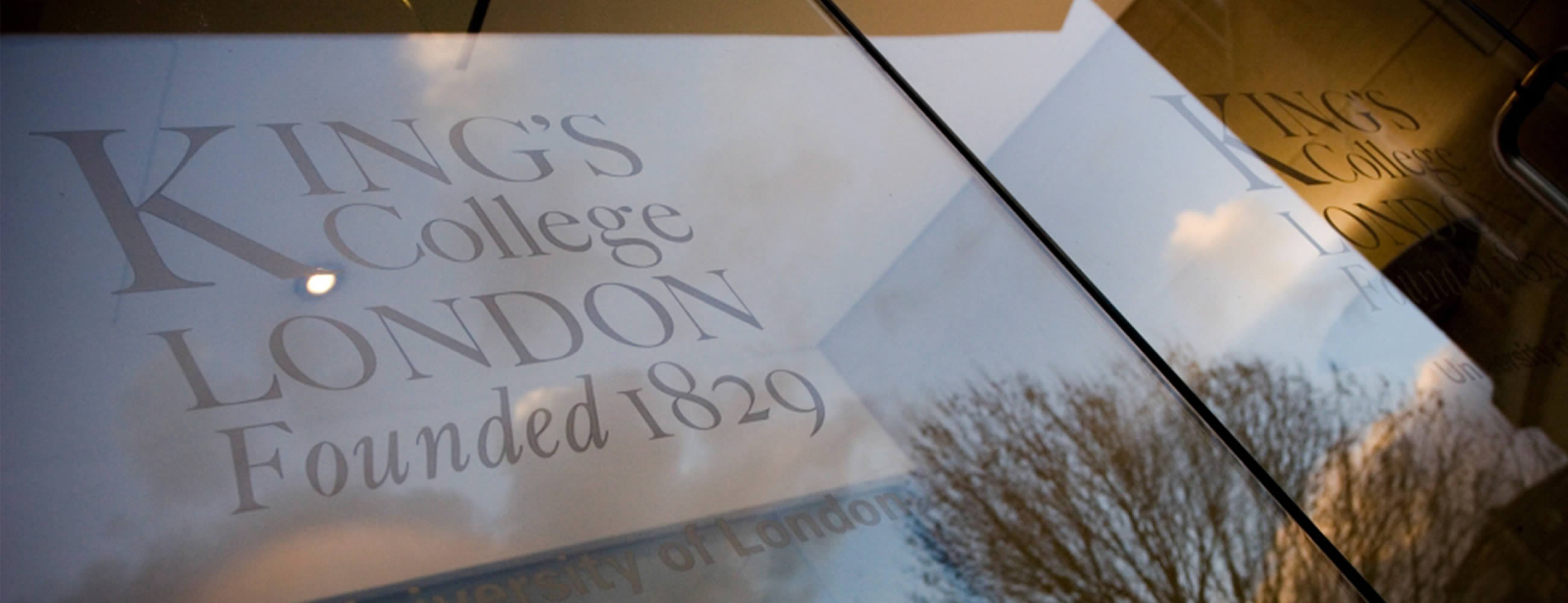 Kings College window graphics in London